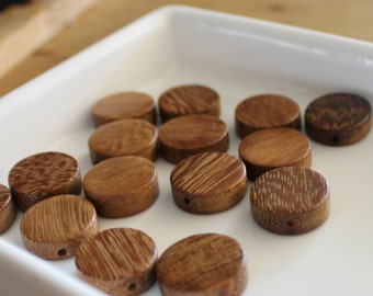 Small Round Tan Wood Beads x 15