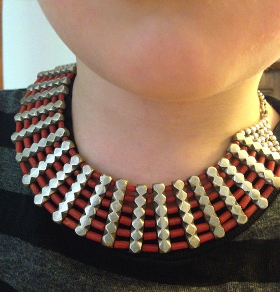 Heavy Silver Bib Choker Necklace wth Coral Beads