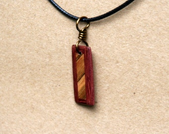 Handmade Purpleheart and Ambrosia maple Wood Pendant J160601