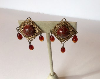 Gold Tone Vintage Square Filigree Clip Earrings with Center Focal Stone and Red Dangles