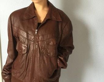 VIntage Leather Bomber Jacket - Bermans 46 Zip out Lining - Oxblood Motorcycle Jacket Mens Coat