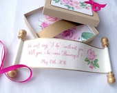 Will you be my flower girl invitation, custom printed boxed mini scroll, pink and gold roses