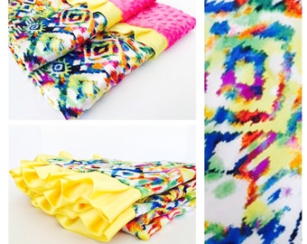 NEW STYLE BLANKET / colorful tribal satin print  minky dimples and trim / Gorgeous and unique design / Great baby gift
