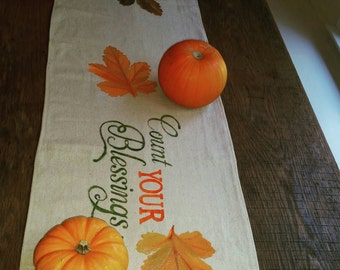 Count Your Blessings Handpainted Canvas Table runner