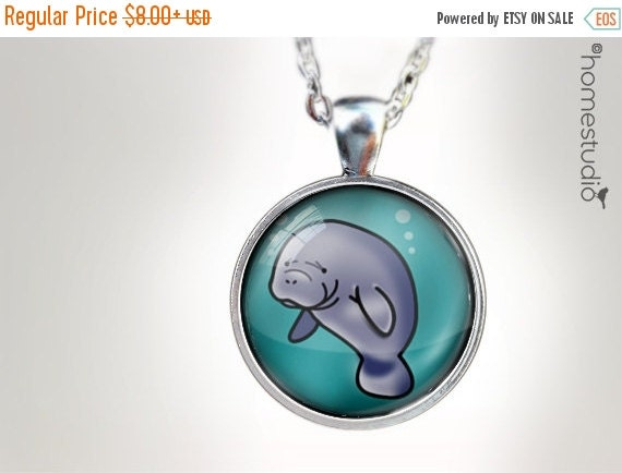 ON SALE Manatee : Glass Dome Necklace, Pendant or Keychain Key Ring. Gift Present metal round art photo jewelry HomeStudio. Silver Copper Br