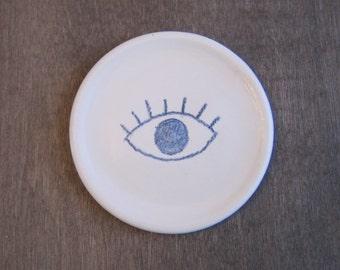 Coffee Spoon Rest or Teabag Holder, Sunrise Eye Pottery Dish, Ring Holder, Stoneware Ceramic Jewelry Dish