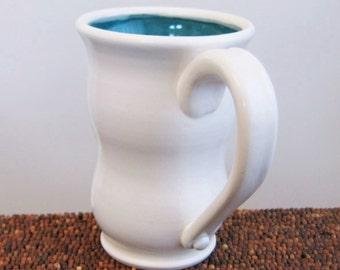 Pottery Coffee Mug, Wheel Thrown Beer Stein , Tall Peacock Blue / Green Stoneware Mug, Handmade Ceramic Cup 14 oz.