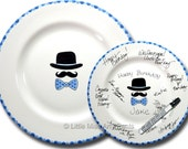 11 inch Ready to Ship - Hand Painted Signature Birthday Plate - Hat, Mustache & Bow Tie Design