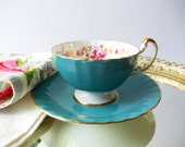 Aynsley Teacup and Saucer Blue Pink Rose English Bone China - Vintage Chic Tea Party