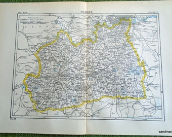 1897 Original Antique Victorian Color Map of Surrey Greater  London England United Kingdom
