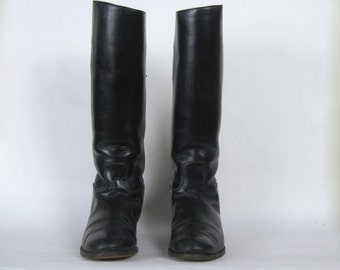 size 6.5, vintage Black Leather Riding Boots - DAVEGA SPORTS - 1950s, equestrian prep, horse