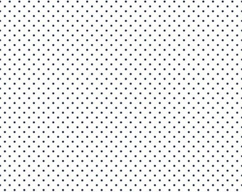 25% OFF Navy Swiss Dots on White - 1/2 Yard