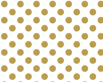 SALE Sparkle Pearlized Dots Gold  - 1/2 Yard
