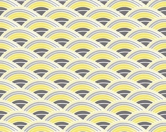 SALE Evening Blooms Yellow Rainbow  - 1/2 Yard