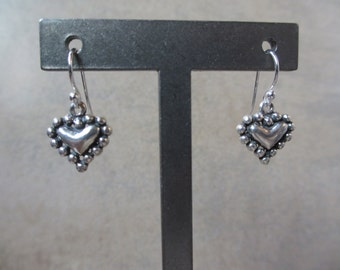 Silver Heart Earrings, Valentine's Earrings, Sterling Silver, Oxidized, Irisjewelrydesign