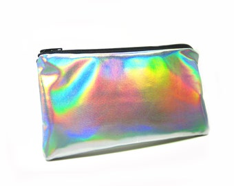 Holographic Pen Pouch// Handmade Skinny Zipper Bag