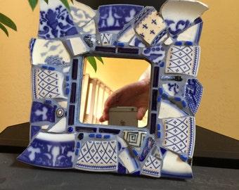 Mirror. Mosaic Mirror. Vintage Plate Mirror. Cobalt Blue & White Mirror. Hand Cut and Tumbled Vintage China. Millefiori, hand blown glass.