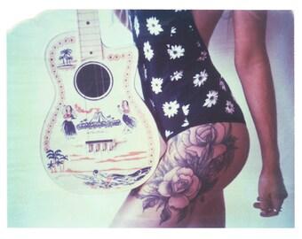 Tropical Tattoo Art Gothic Toy Guitar Polaroid Print 8x10 inches