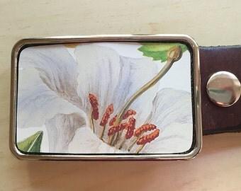 White Iris Flower Belt buckle.  Women's belt buckle.  Cut from vintage tin.  Snap belts.