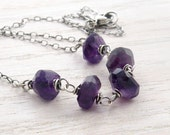 Rustic Amethyst Gemstone Necklace, Wire Wrapped, Oxidized Sterling Silver, February Birthstone, #4591