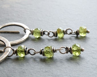 Peridot Dangle Earrings, Green Gemstone, Hammered Circle Dangle Earrings, Peridot Earrings, August Birthstone, #4682