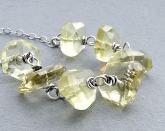 Lemon Quartz Necklace, Yellow Quartz Gemstone, Yellow Gemstone Necklace, Wire Wrapped, Faceted Lemon Quartz, Sterling Silver, #4584