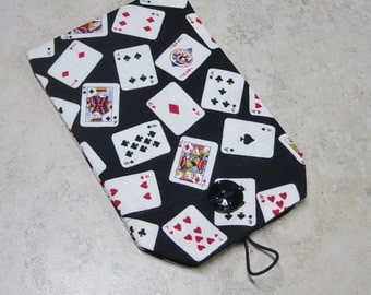 Cell Phone Sleeve,Gadget Sleeve, Business Card Holder,Deck of Cards Fabric Case, Gamblers Gift, Business Card Case,Casino Card Case