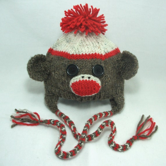 Sock Monkey Hat Knitting Pattern : Items similar to Classic Sock Monkey Ear Flap Knitting Pattern in sizes 0   3...