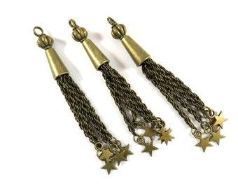 3 Star Tassels Pendant Chain Drops Antique Bronze 83x8mm - 3 pc - DC3028-AB3
