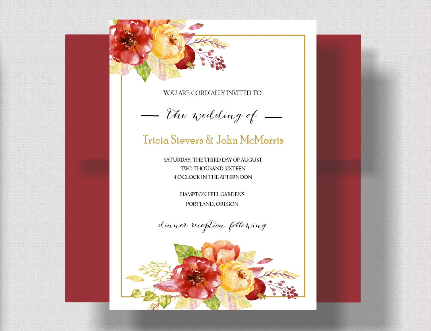 AUTUMN WEDDING INVITATION, Rustic Fall Wedding Invitation Suite ...