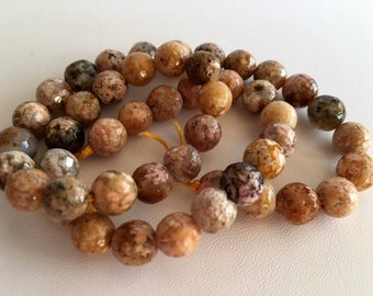 Faceted Agate Beads, 10mm Agate Bead Strand