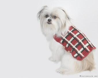 CROCHET PATTERN - Plaid Dog Sweater - Instant Download (PDF)