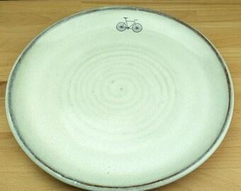 White Ceramic Dinner Plate with Bike