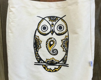 INTRODUCTORY SPECIAL PRICING - Owl Organic Cotton Roomy with Tablet Pocket Crossbody Bag Totem Animal Wisdom Protection Intuition