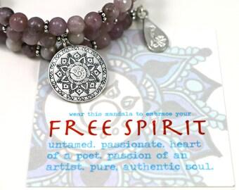 FREE SPIRIT Lilac Lepidolite Healing Gemstone Mandala Bracelet