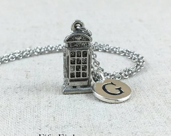 London Phone Booth Charm Necklace, Monogrammed Initial, Personalized Initial Necklace, Silver Phone Booth Necklace, Personalized Travel Gift