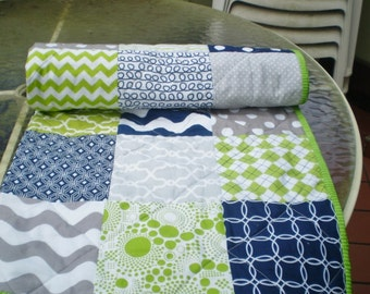 Nautical Baby quilt,navy blue,grey,lime green,Baby boy bedding,baby boy quilt,patchwork Crib quilt,toddler,waves,chevrons,dots,Lime Rickey