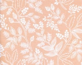 rifle paper cotton & steel les fleurs queen anne peach / quilting fabric / floral fabric / peach fabric / by the yard / quilting cotton