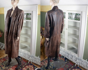 Vintage 80's slouchy leather coat, boho leather coat, distressed leather, leather maxi coat, double breasted jacket, tribal print lining