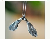 Maple Seed Necklace Silver