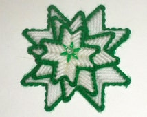 Poinsettia Magnet - Plastic Canvas Magnet - Christmas Star - Poinsettia in Green and White - Refrigerator Magnet - Plastic Canvas Flower