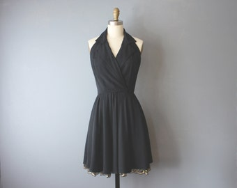 vintage 90s black halter mini dress / gold lace underlay LBD / little black dress / small