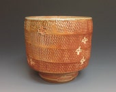 Whiskey Cup. Tumbler. Yunomi. Soda Fired Stoneware. Rope Pattern. Stamped.