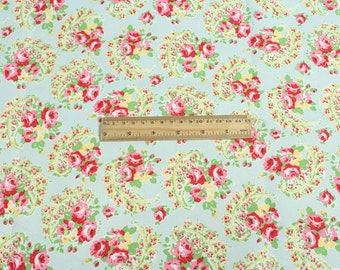 4200 - Cath Kidston Rose Paisley (Light Blue) Cotton Canvas Fabric - 57 Inch (Width) x 1/2 Yard (Length)
