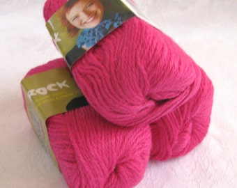 Hot Pink Wool blend yarn, SWTC ROCK yarn,  Courtney, worsted weight