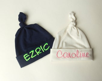 top knot baby hat, single knot name baby hat, name beanie,  monogrammed baby hat, hospital hat,