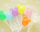 7 pcs Mouse Shaped Lollipop Candy 3D Cabochon / Miniature (24mm 65mm) CD639