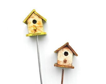Miniature Garden Birch Bark Birdhouse, Weatherproof, Handpainted, Fairy Gardens, Terrarium, Bird Lover, Cute, Dollhouse Mini, Set of 2
