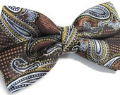 Mens Bow Tie. Rust Orange Gold Paisley Bow Ties With Matching Pocket Square Option