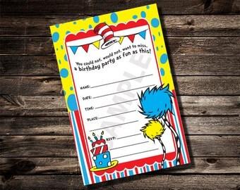 Dr. Seuss Birthday Fill in the blank Invitation